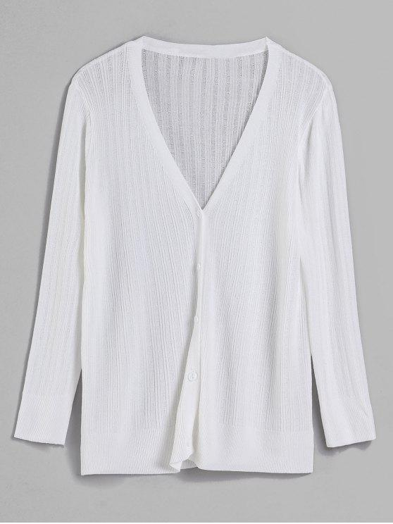 trendy V Neck Button Front Classic Cardigan - WHITE ONE SIZE