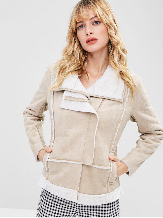 new Zip Up Faux Suede Shearling Jacket - CHAMPAGNE M