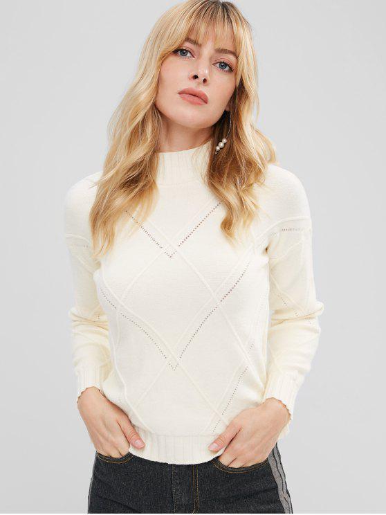Geometrischer Strick Schlitz Schritt Hem Sweater - Beige Eine Größe