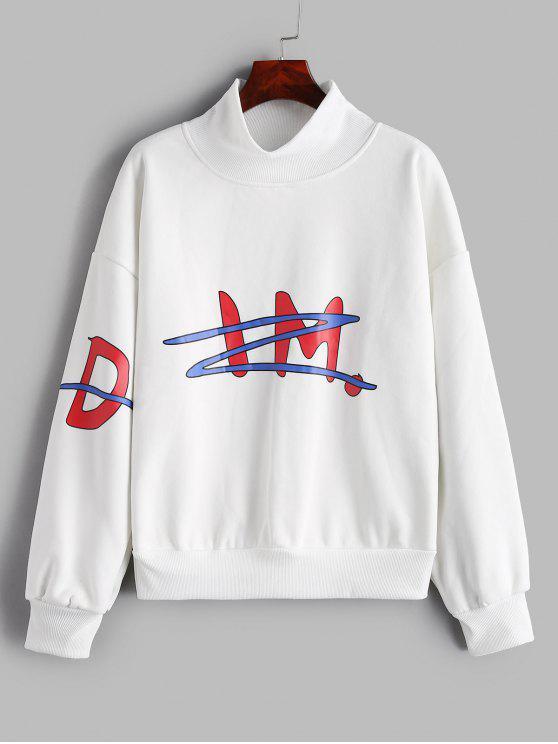 latest Mock Neck Graphic Oversized Sweatshirt - WHITE XL