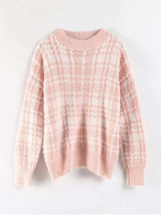 trendy Crewneck Checked Jacquard Sweater - PINK ONE SIZE