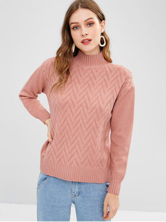 unique Chevron Mock Neck Pullover Sweater - WATERMELON PINK ONE SIZE