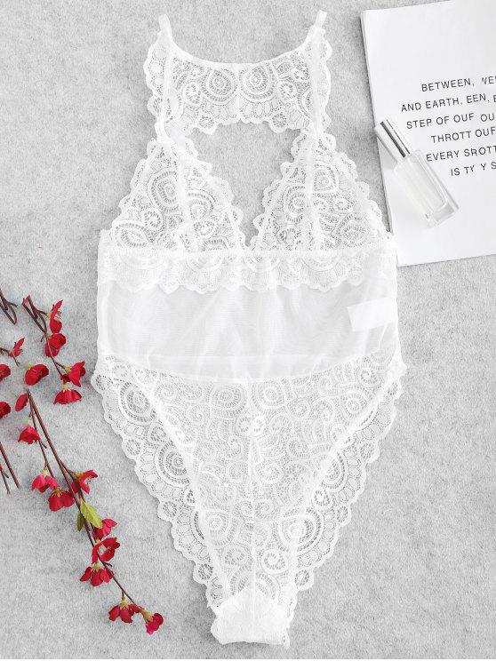 Lencería transparente Teddy Bodysuit - Blanco L
