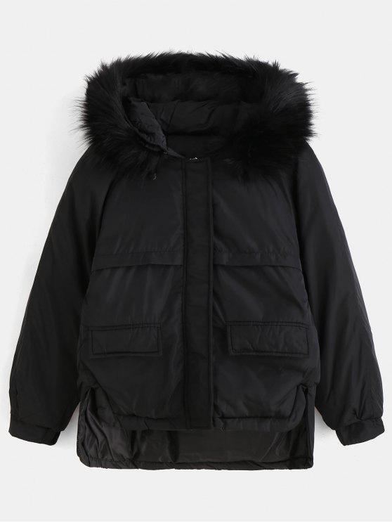 affordable Faux Fur Hood Quilted Short Winter Coat - BLACK M