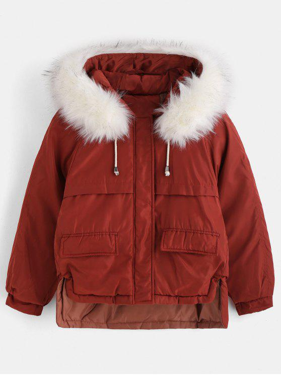 online Faux Fur Hood Quilted Short Winter Coat - BEAN RED M