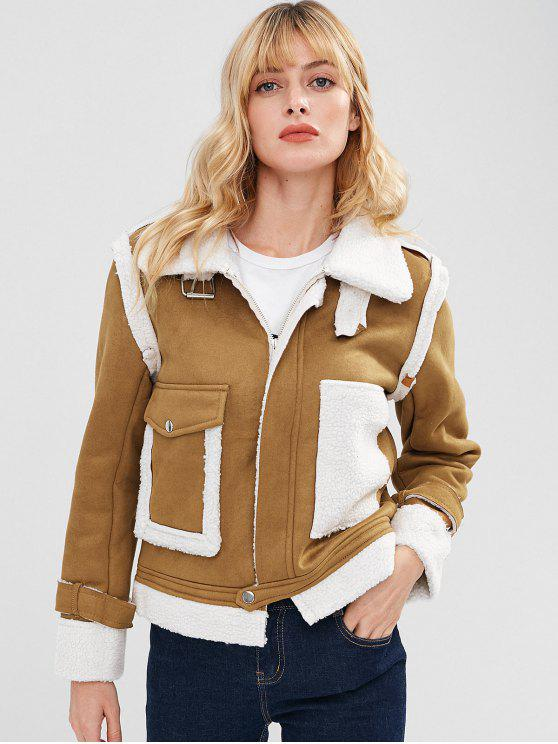 fashion Zip Up Sheepskin Jacket - DARK GOLDENROD S