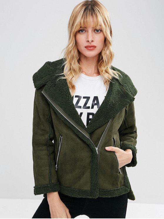 women's Hooded Zip Up Sheepskin Jacket - ARMY GREEN M