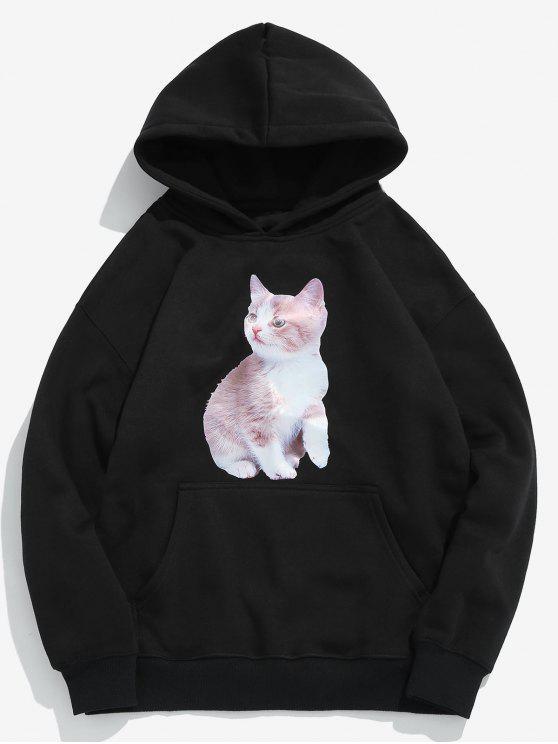 Creative Cat Printed Fleece Sudadera con capucha - Negro 2XL