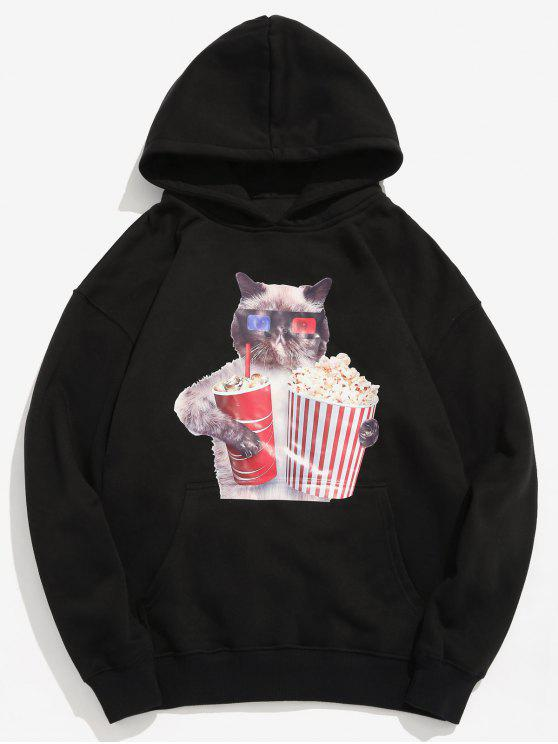 trendy Funny Cat and Popcorn Printed Fleece Hoodie - BLACK S