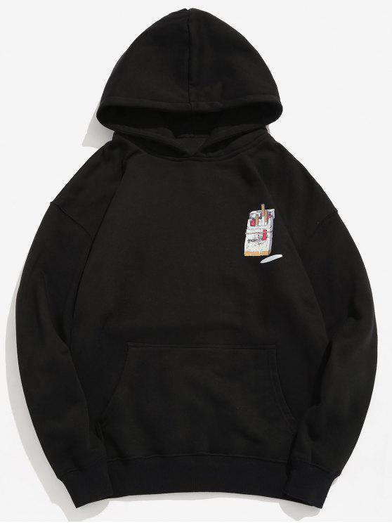 women Funny Printed Hip Hop Style Hoodie - BLACK S