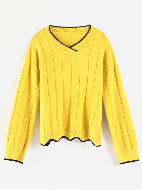 women's Cozy Contrasting Piping Sweater - YELLOW ONE SIZE