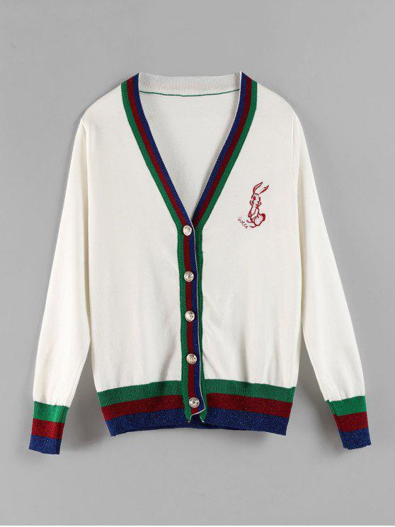 Cardigan Rayé Brodé avec Bouton en Avant - Blanc Taille Unique