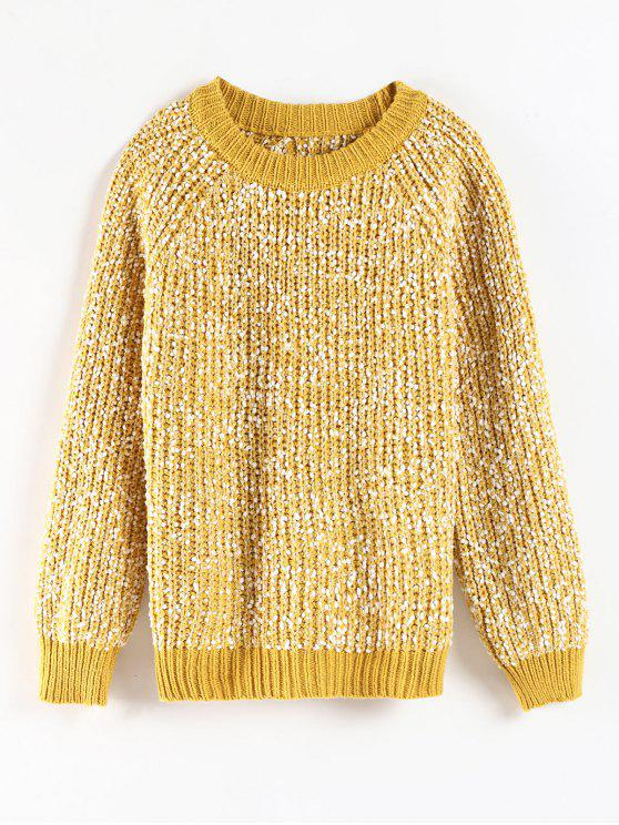 unique Crewneck Mixed Yarn Chunky Knit Sweater - YELLOW ONE SIZE