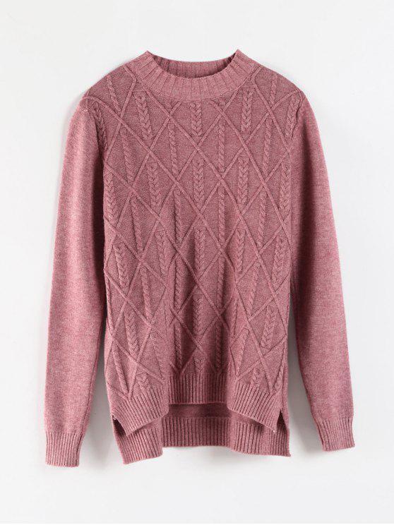 latest Step Hem Cable Geometric Knit Sweater - VELVET MAROON ONE SIZE