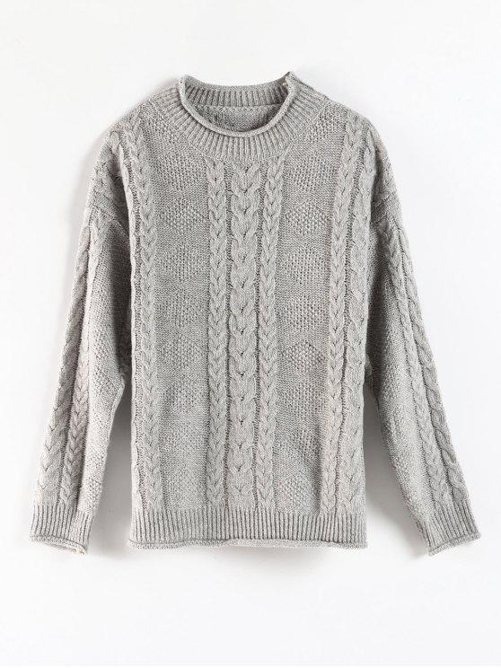 hot Curled Edge Cable Knit Fisherman Sweater - GRAY ONE SIZE
