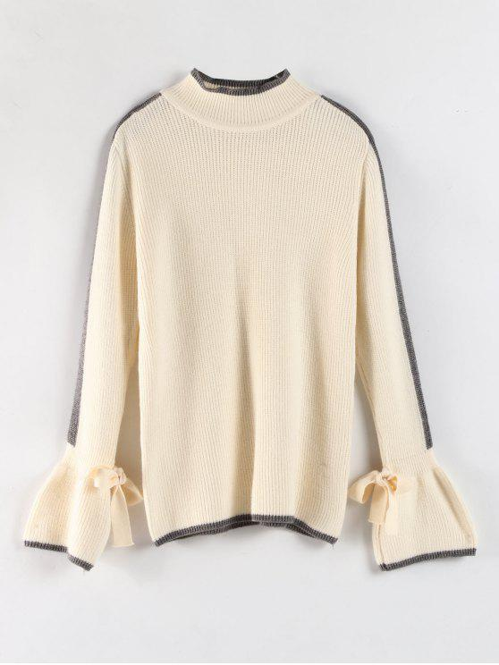 new Contrasting Trims Bell Cuffs Sweater - WARM WHITE ONE SIZE
