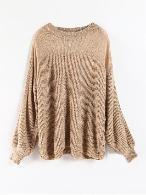fancy Bubble Sleeve Sheer Yoke Sweater - CAMEL BROWN ONE SIZE