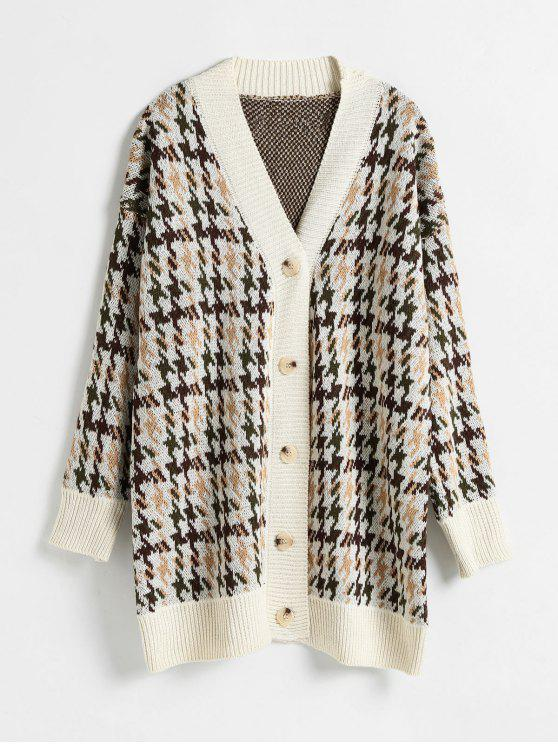 hot Button Through Houndstooth Jacquard Cardigan - MULTI ONE SIZE