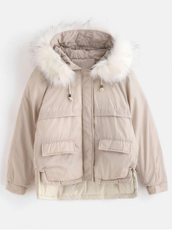 unique Faux Fur Hood Quilted Short Winter Coat - BEIGE L