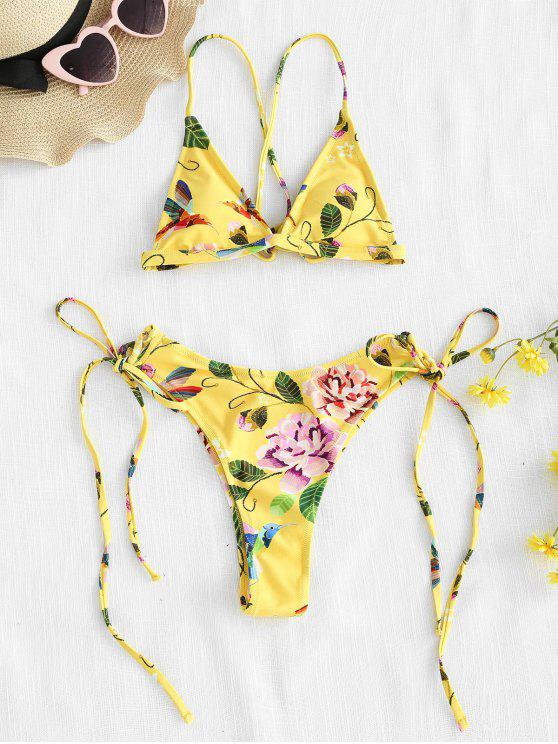 new ZAFUL Floral Strappy String Bikini Set - CORN YELLOW S