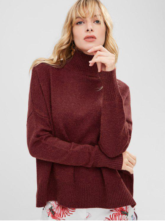 new Funnel Collar Drop Shoulder Oversized Sweater - RED WINE ONE SIZE
