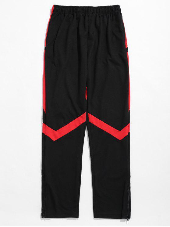 Pantaloni Sportivi A Contrasto A Righe Con Cerniera - Nero 2XL