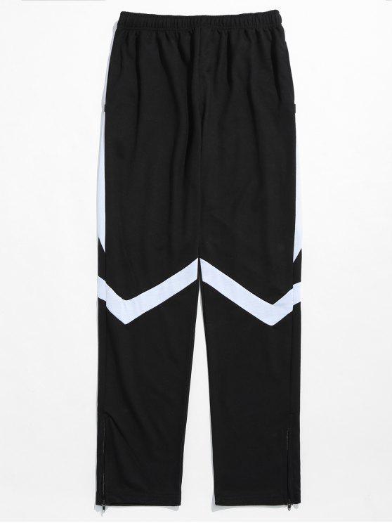 Pantalon de Survêtement Contrasté à Ourlet Rayé - Blanc 3XL