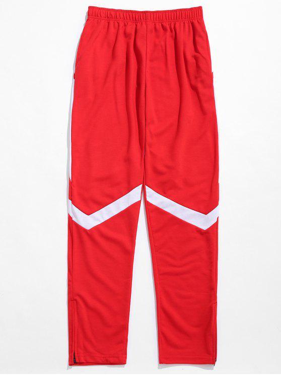 Pantaloni Sportivi A Contrasto A Righe Con Cerniera - Rosso XL