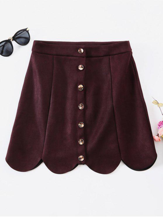 trendy ZAFUL Faux Suede Button Up Mini Skirt - DULL PURPLE M