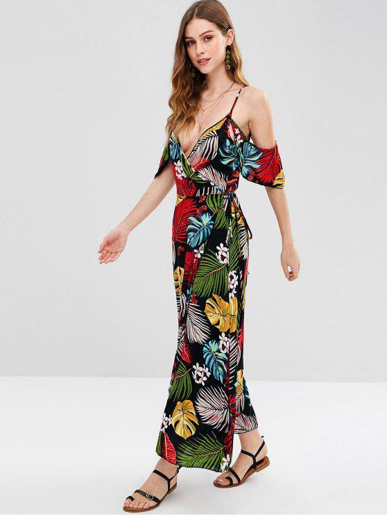 best Cold Shoulder Tropical Print Maxi Wrap Dress - MULTI-A M