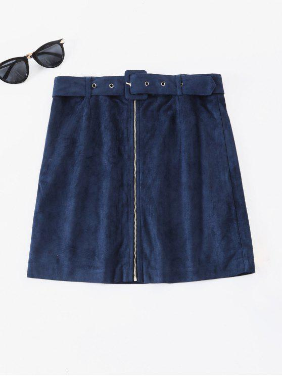 lady ZAFUL Faux Suede Zip Up Mini Skirt - DARK SLATE BLUE M