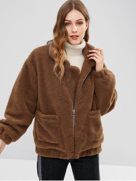 ladies Zip Up Fluffy Winter Coat - COFFEE S