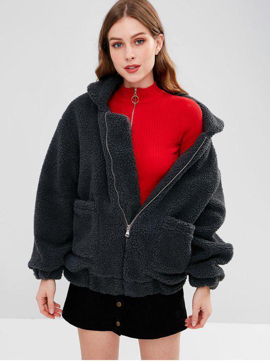 womens Zip Up Fluffy Winter Coat - SLATE GRAY L