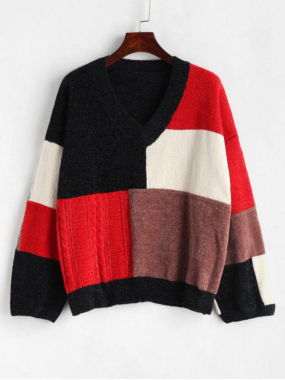 outfit Color Block Chenille Oversized Sweater - MULTI ONE SIZE