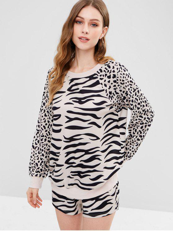 outfits ZAFUL Leopard Sweatshirt and Shorts Set - LEOPARD XL