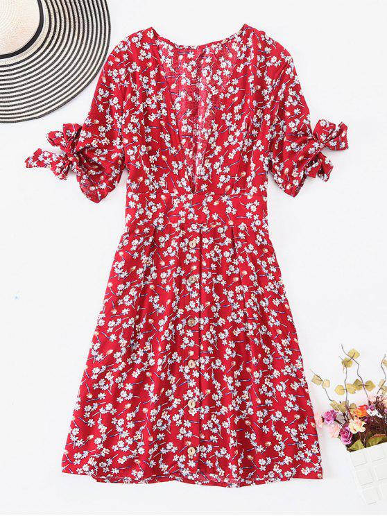 best ZAFUL Button Up Knotted Floral Dress - MULTI M
