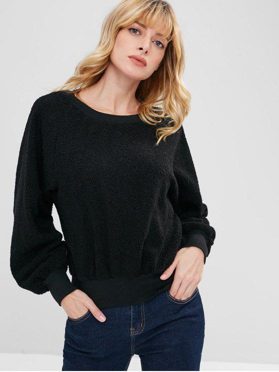 unique ZAFUL Raglan Sleeve Faux Shearling Teddy Sweatshirt - BLACK ONE SIZE