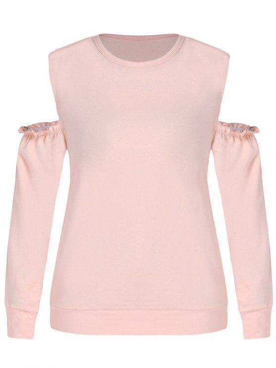 women ZAFUL Plus Size Open Shoulder Sweatshirt - ORANGE PINK 1X
