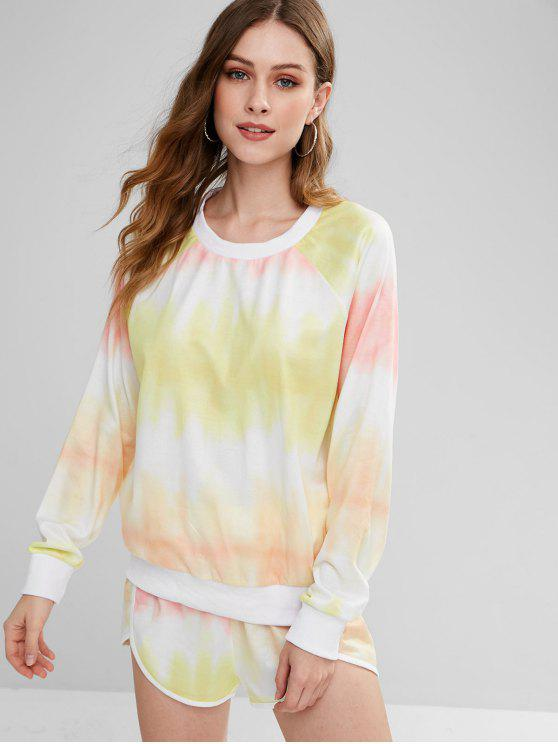 latest ZAFUL Ombre Sweatshirt and Dolphin Shorts Set - MULTI S