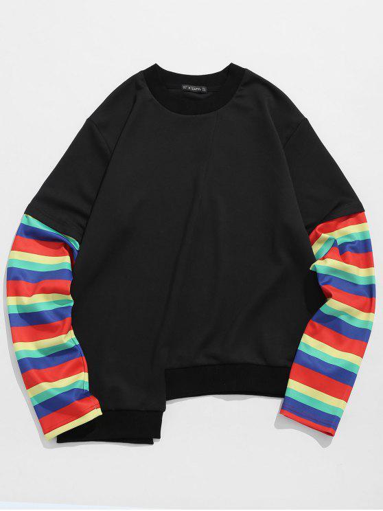 online ZAFUL Patchwork Sleeve High Low Hem Sweatshirt - BLACK S