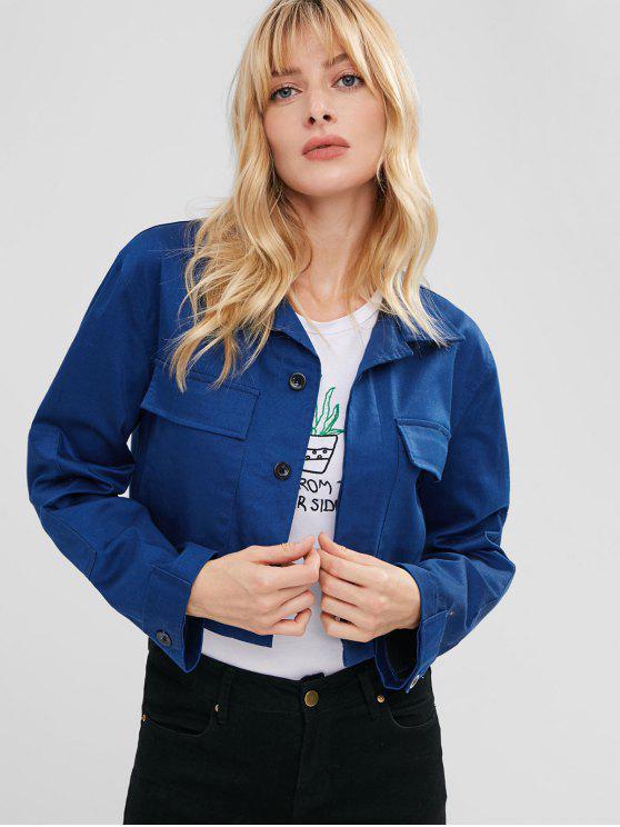 women's ZAFUL Front Pocket Boxy Jacket - DENIM DARK BLUE S