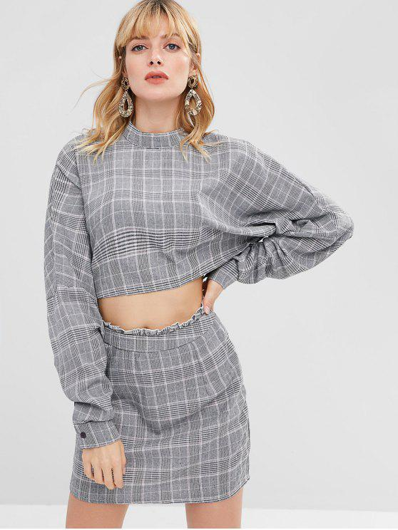 ladies ZAFUL Plaid Crop Top and Skirt Set - GRAY L