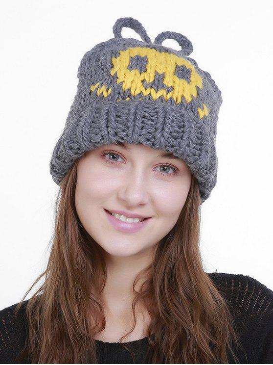 Skull Pattern Crochet Gestrickte Slouchy Beanie - Grau