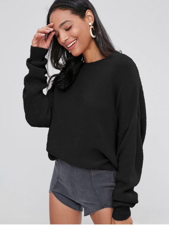 unique ZAFUL Chunky Knit Loose Sweater - BLACK ONE SIZE