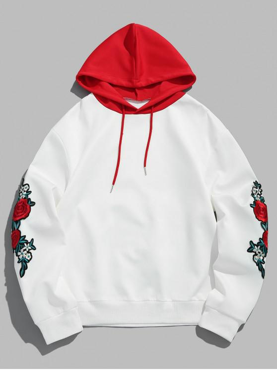 women's ZAFUL Flower Embroidery Applique Sleeve Drawstring Hoodie - LOVE RED M