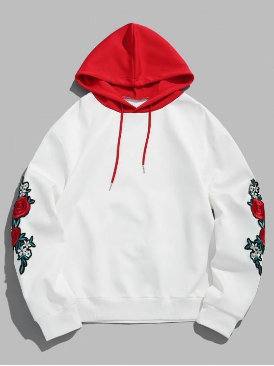 ZAFUL bordado de flores apliques con cordón camiseta de manga - Amo Rojo 2XL