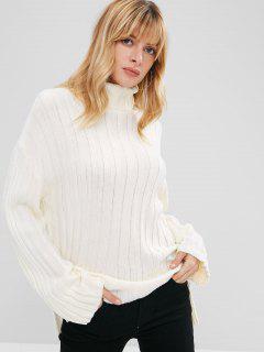 Side Slit Turtleneck Sweater - Off-white