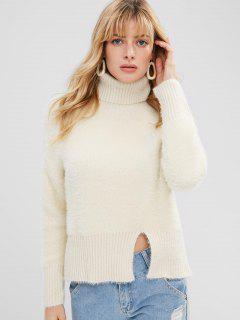 Slit Textured Turtleneck Sweater - Beige