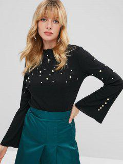 Ribbed Flare Sleeve Faux Pearls Sweater - Black M