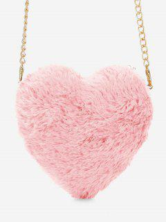 Faux Fur Heart Shape Crossbody Bag - Light Pink
